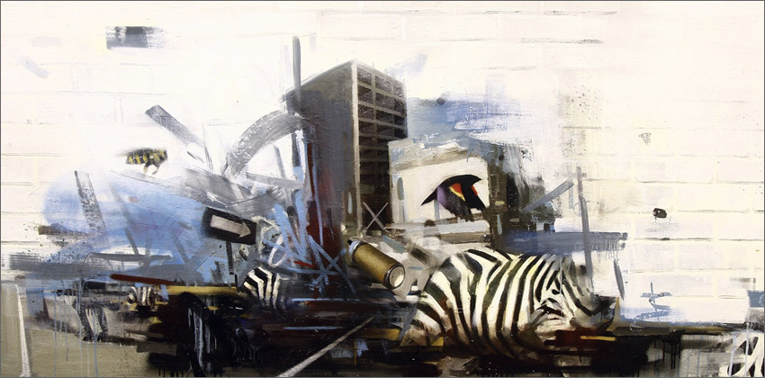 "Merging Traffic – 42″ x 82.75"" – spray paint and oil on panel"